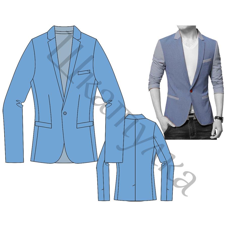 Выкройка мужского пиджака MJ210219