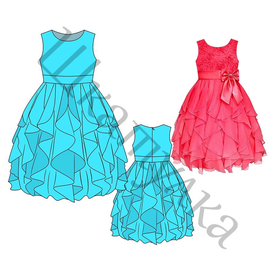 Выкройка бального платья для девочки KD250219