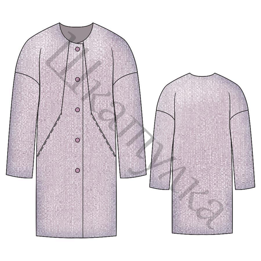 Выкройка пальто с удлиненным плечом WC280219