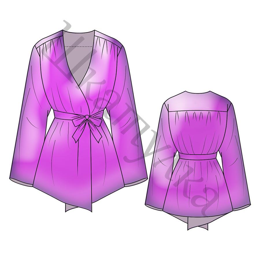 Выкройка длинной свободной блузы WT020419
