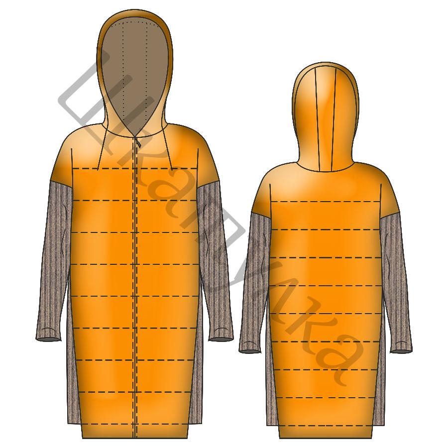 Выкройка комбинированного стеганного пальто WC050419