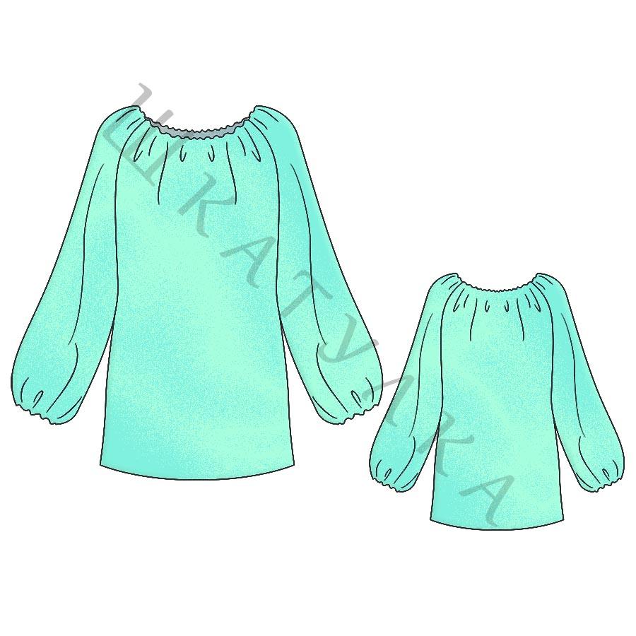Выкройка крестьянской блузы WT260419