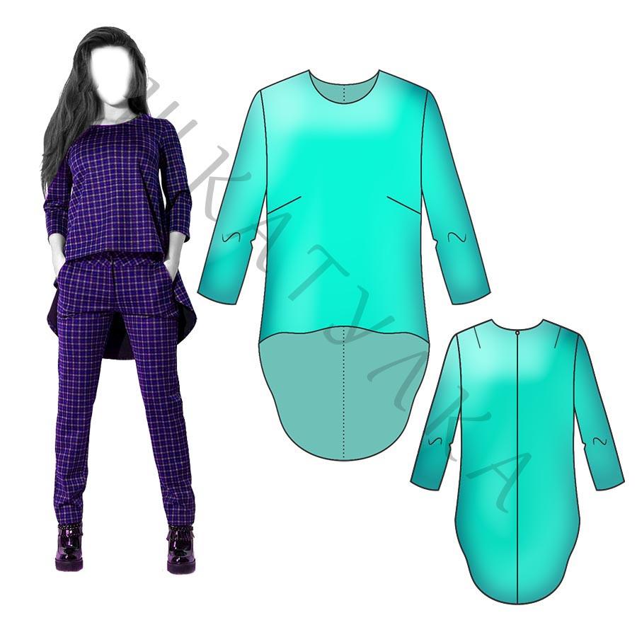 Выкройка блузы с перепадом длины WT070519