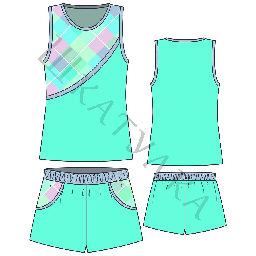 Выкройка детского короткого спортивного костюма KK170519
