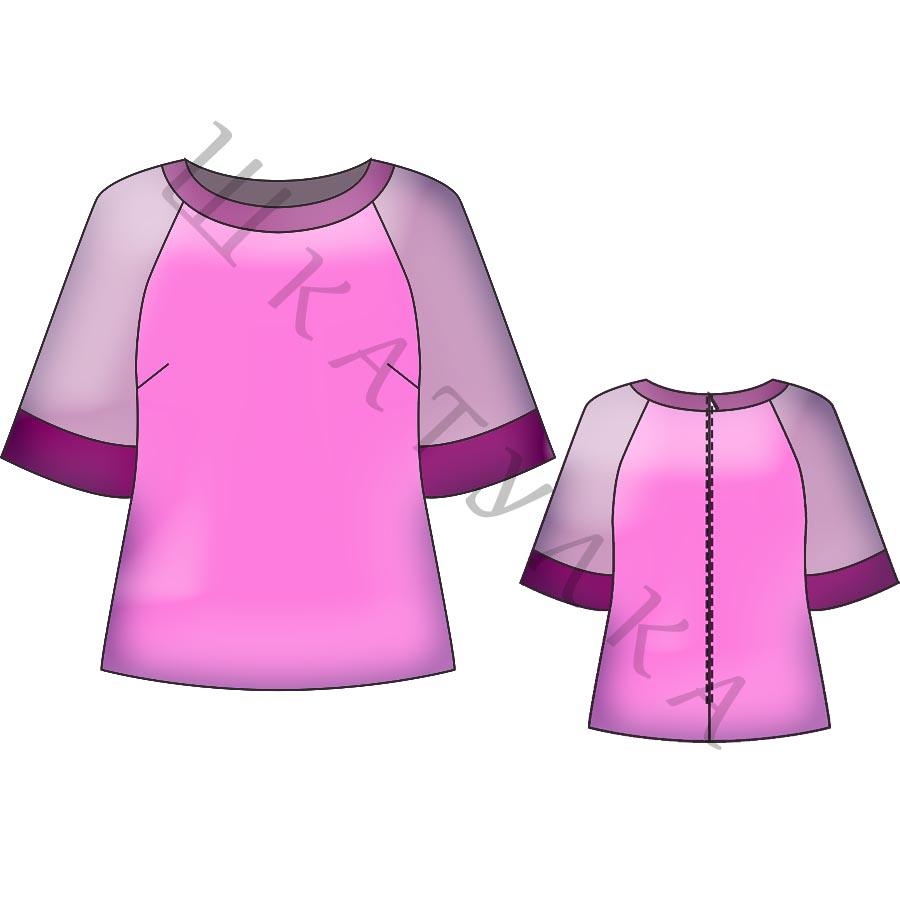 Выкройка блузки с рукавом реглан WT070619