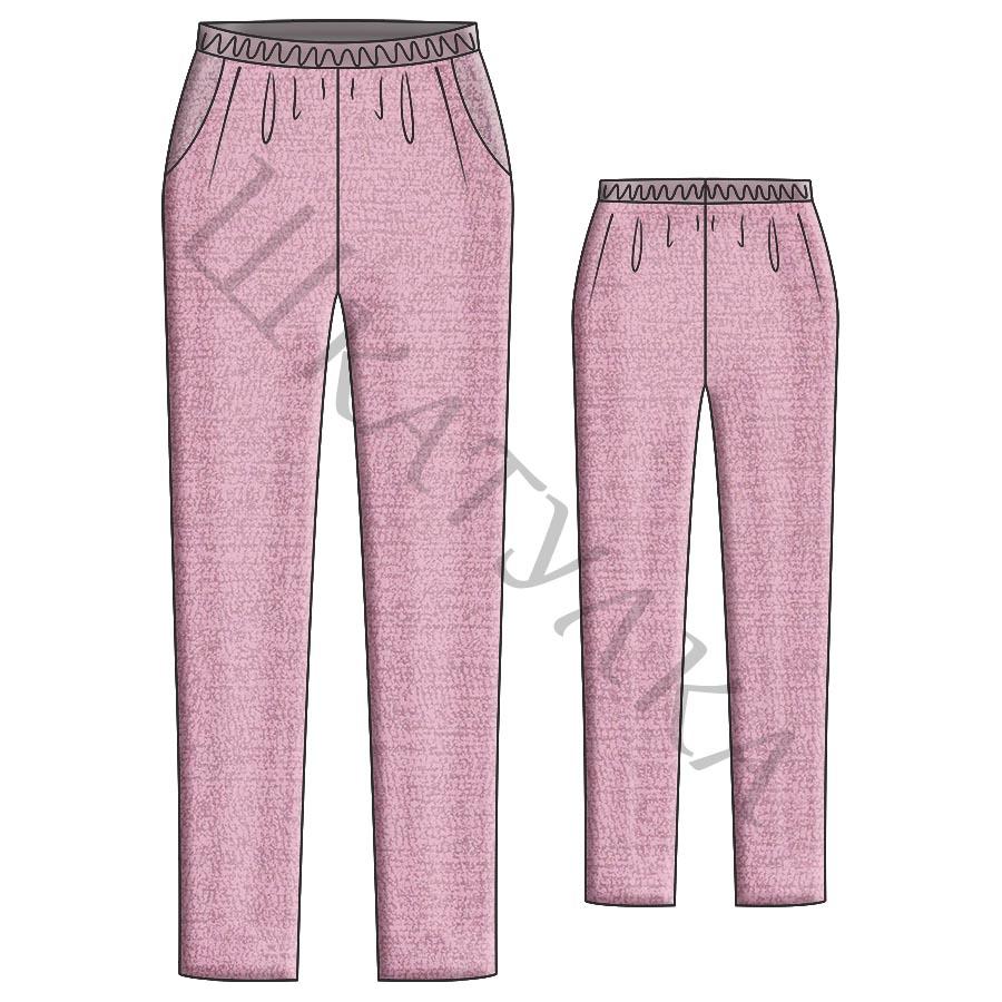 Выкройка узких женских брюк на резинке WB050719