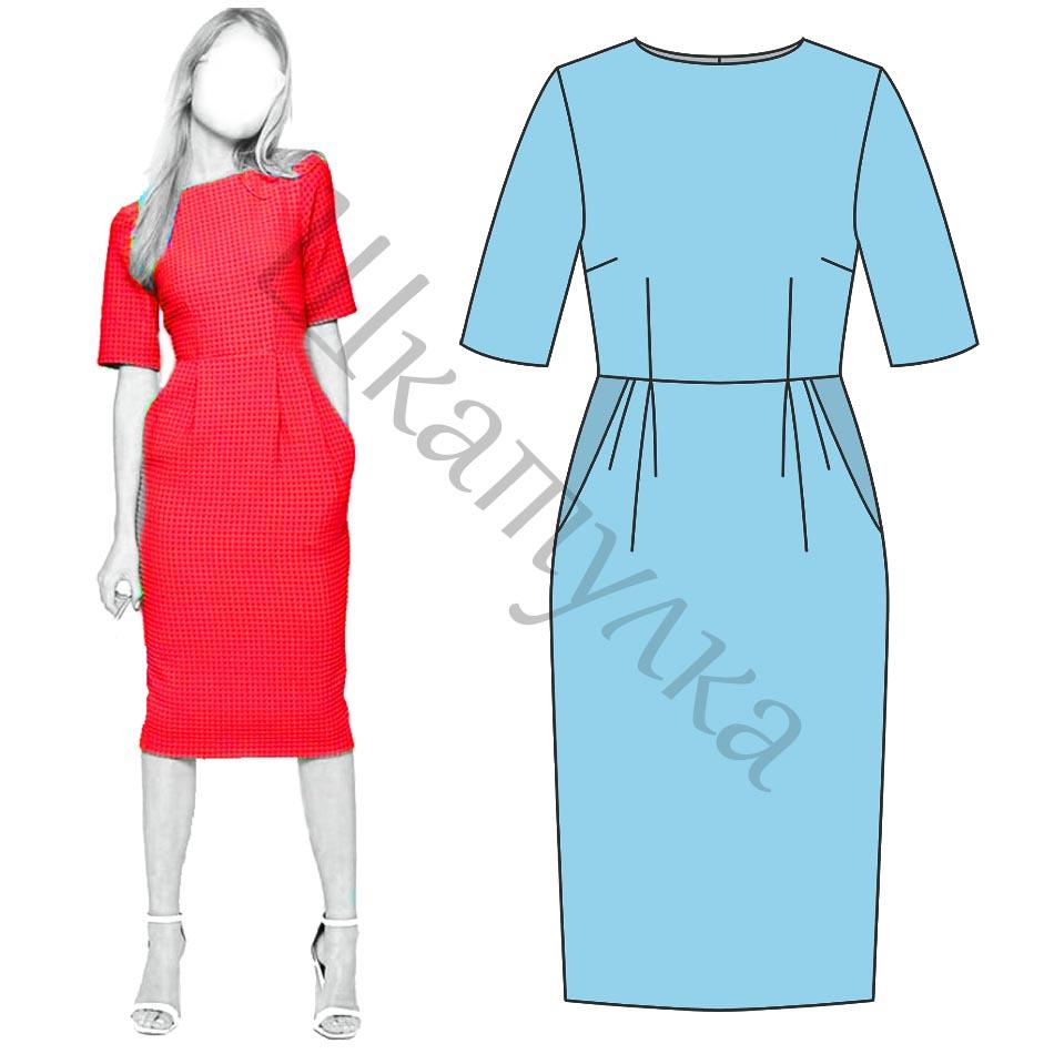 Выкройка платья-футляр WD090719