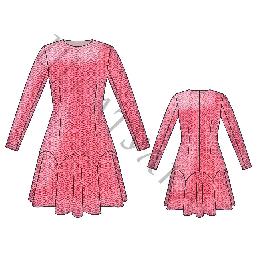 Выкройка платья с фигурным низом WD060819