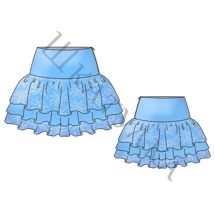 Выкройка детской юбки с оборками KS090819
