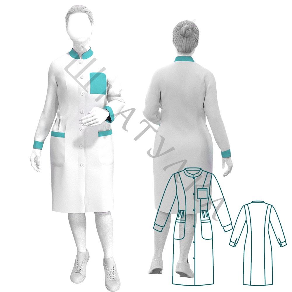 Выкройка медицинского халата WD200819
