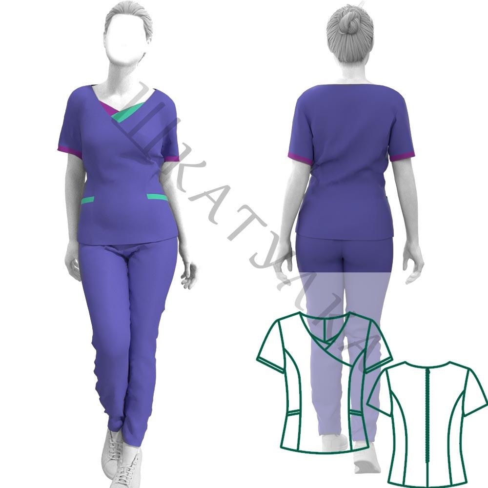 Выкройка медицинской блузы WT230819
