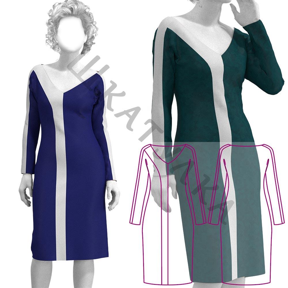 Выкройка трикотажного платья с цельнокроеным рукавом WD260919