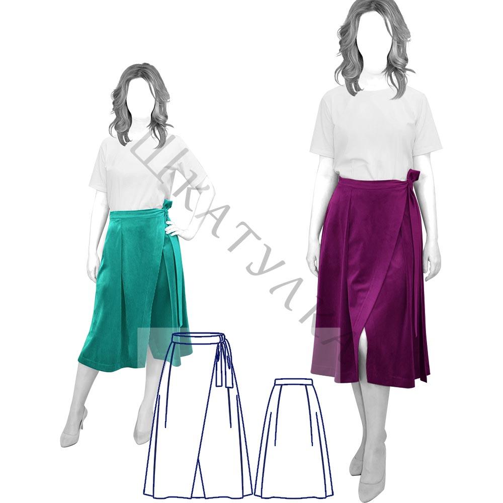 Выкройка юбки-миди с завязками WS171019