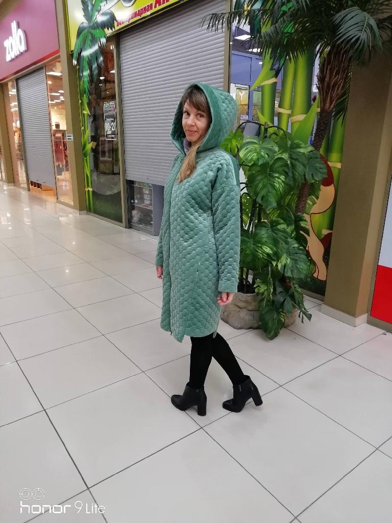 Пальто из стеганного бархата
