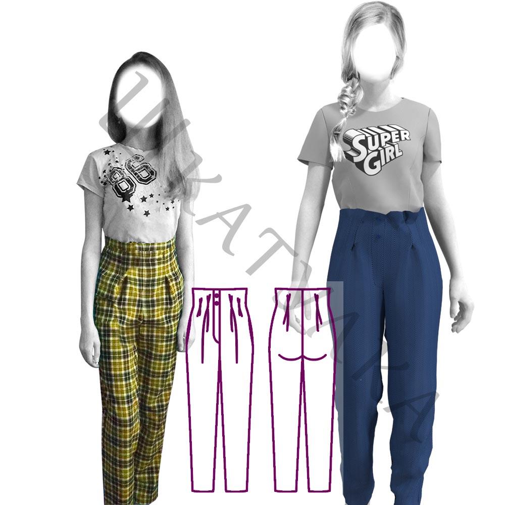 Выкройка брюк со складками для девочки KB251119