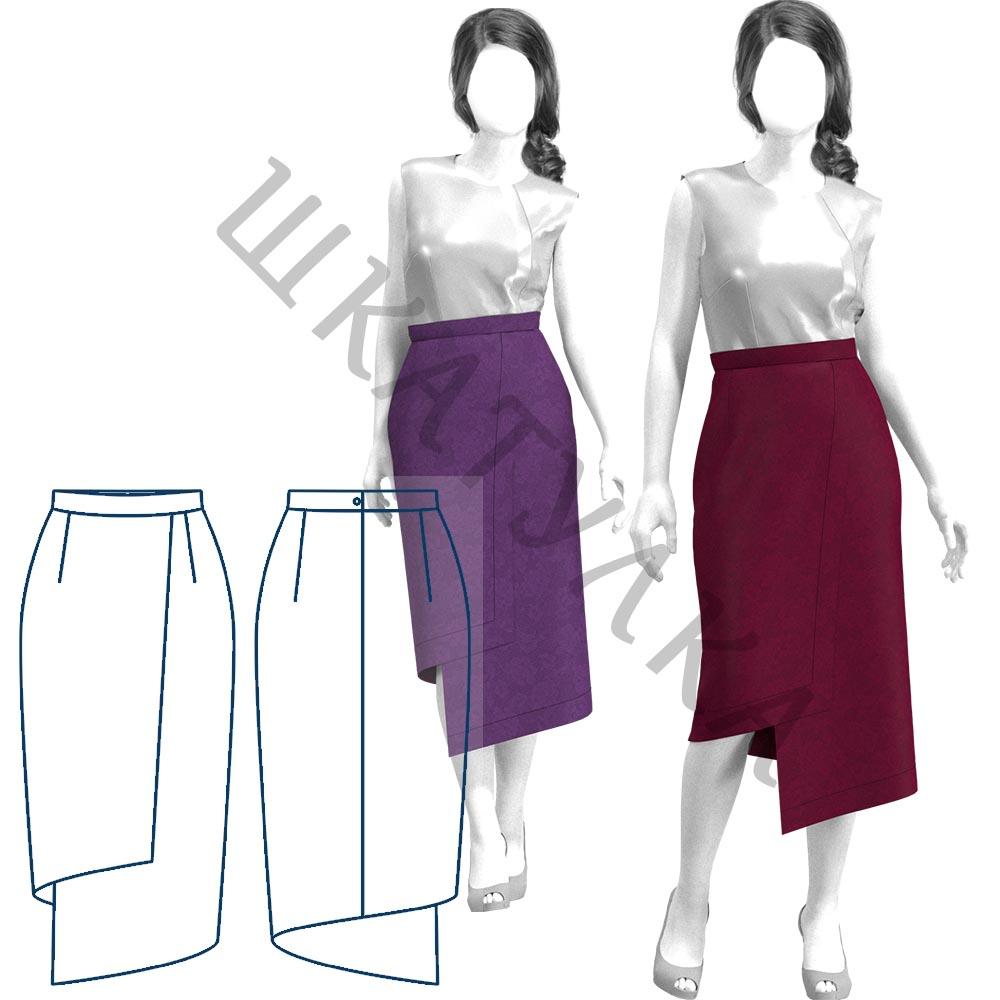 Выкройка асимметричной юбки WS131219