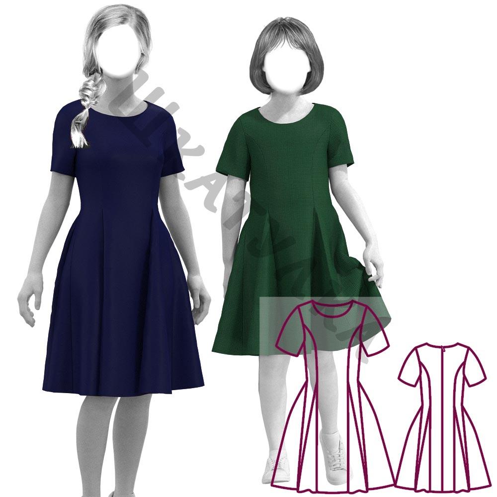 Выкройка расклешенного платья для девочки KD241219