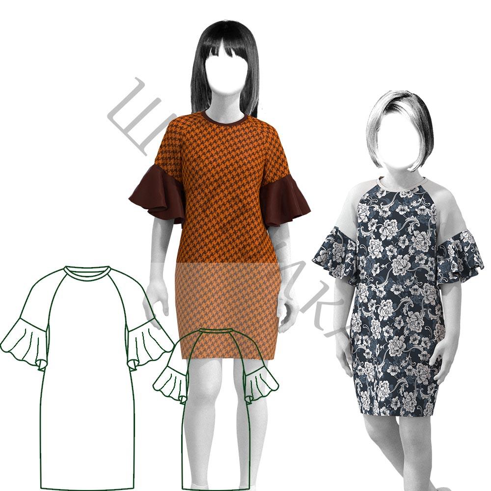 Выкройка трикотажного платья для девочки KD280120
