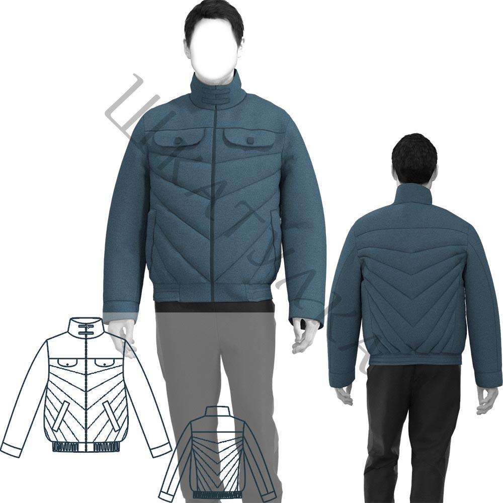 Выкройка мужской утепленной спортивной куртки MJ140220