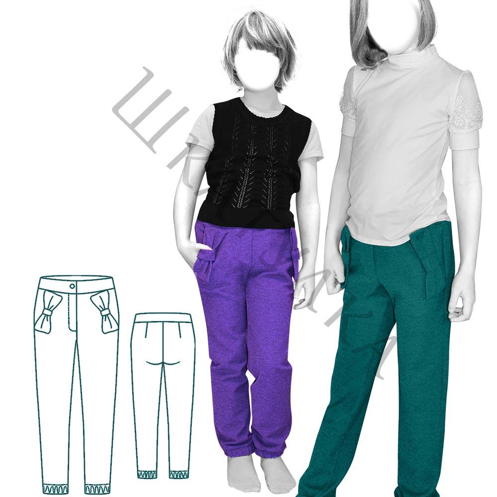 Выкройка детских брюк с карманами-бантами KP200320