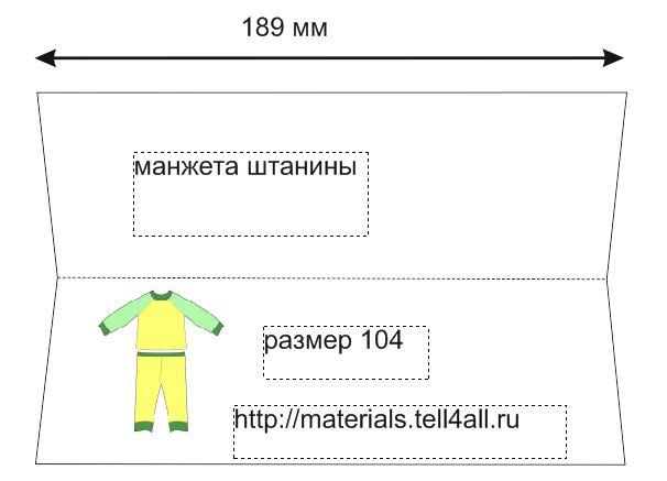 Детская пижама выкройка с размерами размер 80