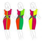 Платье в стиле колорблок из трикотажа