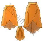 Выкройка каскадной юбки с запахом WS080517