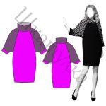 Выкройка платья-баллон с рукавом реглан WD040918