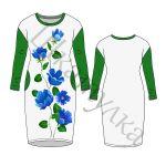 Выкройка трикотажного платья с удлиненным плечом WD301018