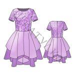 Выкройка детского нарядного платья с фигурной юбкой KD210519