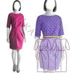 Выкройка платья с асимметричными складками WD051119