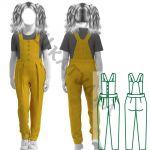 Выкройка детских брюк-полукомбинезона KB140120