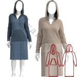 Выкройка трикотажного платья с капюшоном WD310120