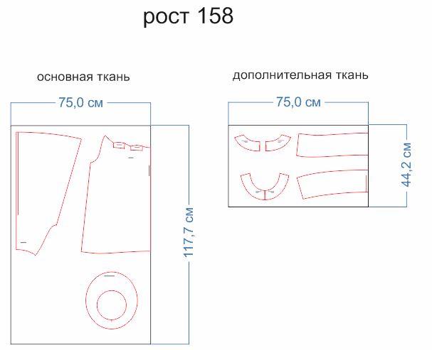 расхо ткани 158