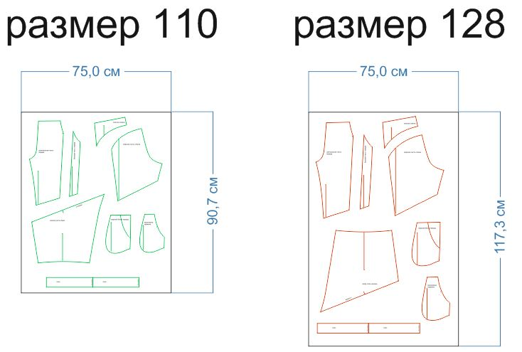 расход ткани 110,128