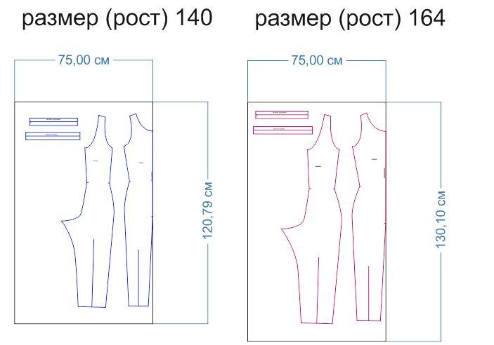 расход ткани 140-164