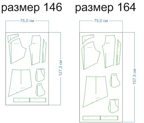 расход ткани 146,164