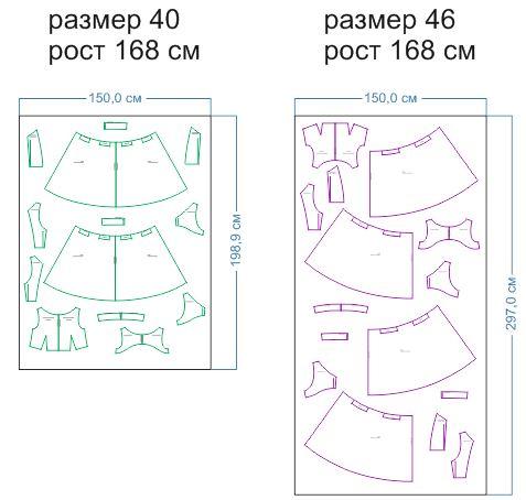 расход ткани 40,46