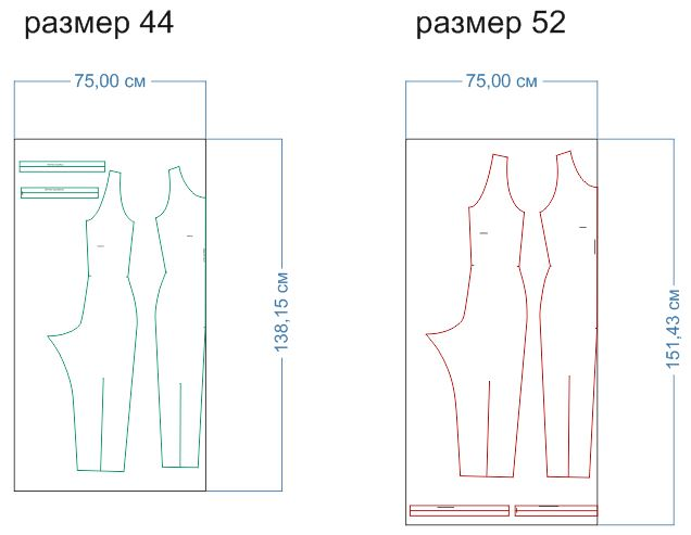 расход ткани 44,52