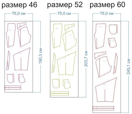 расход ткани 46,52,60