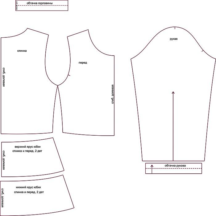 affdae8bf1a Выкройка трикотажного платья для девочки KD150318